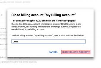 Close billing account confirmation