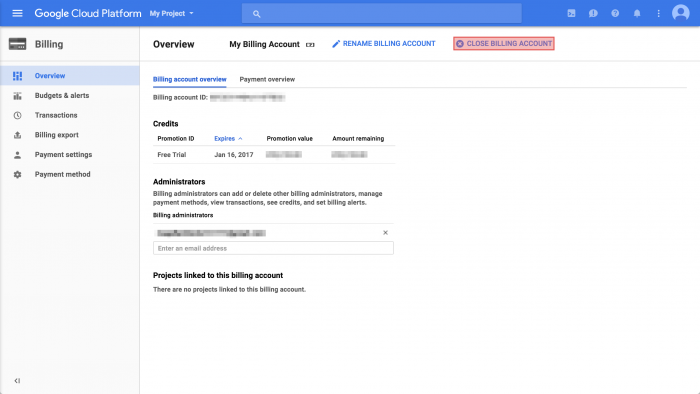 GCP billing overview