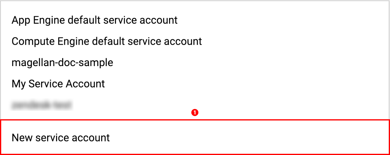 Selecting to create a new service account