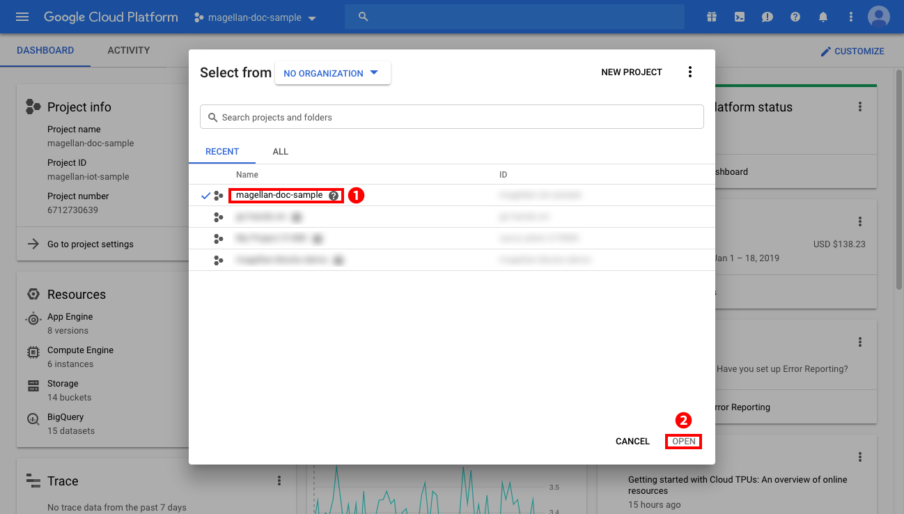 Selecting a GCP project (2)