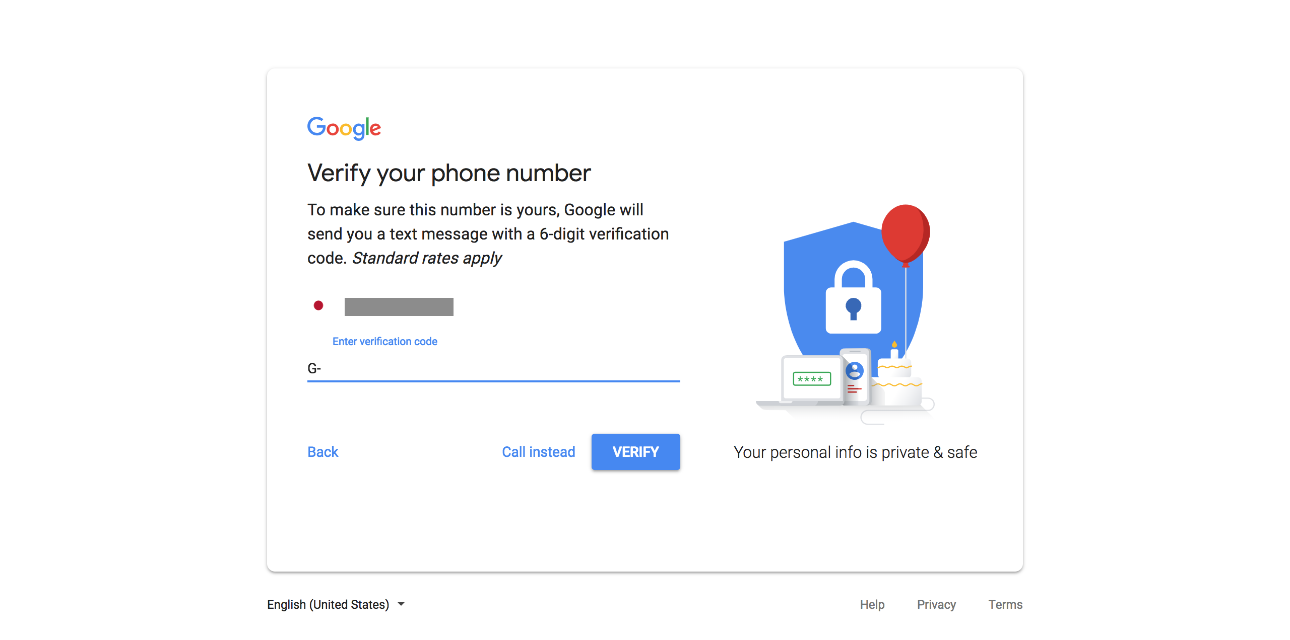 Entering the phone number verification code