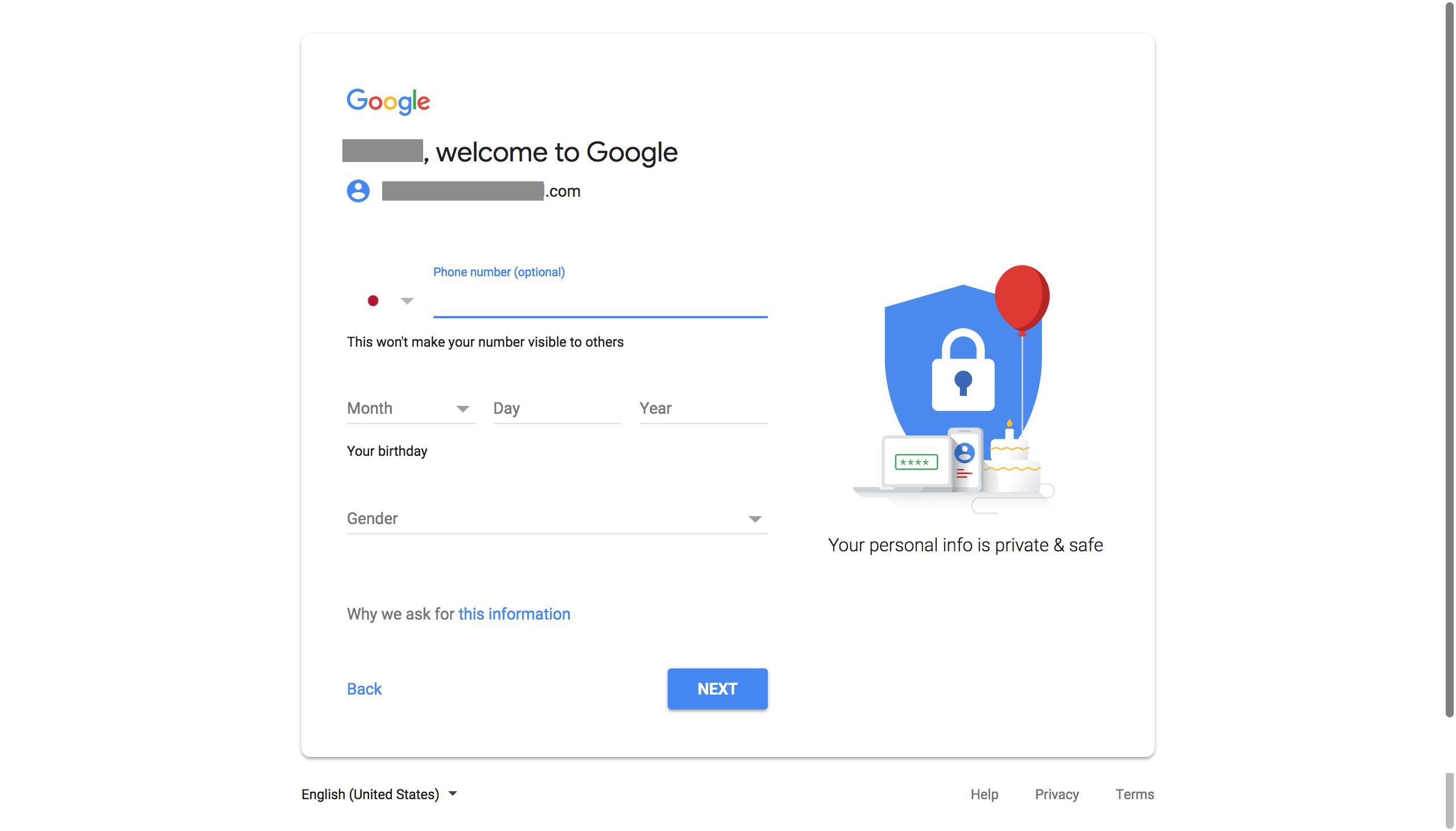 Google account welcome screen