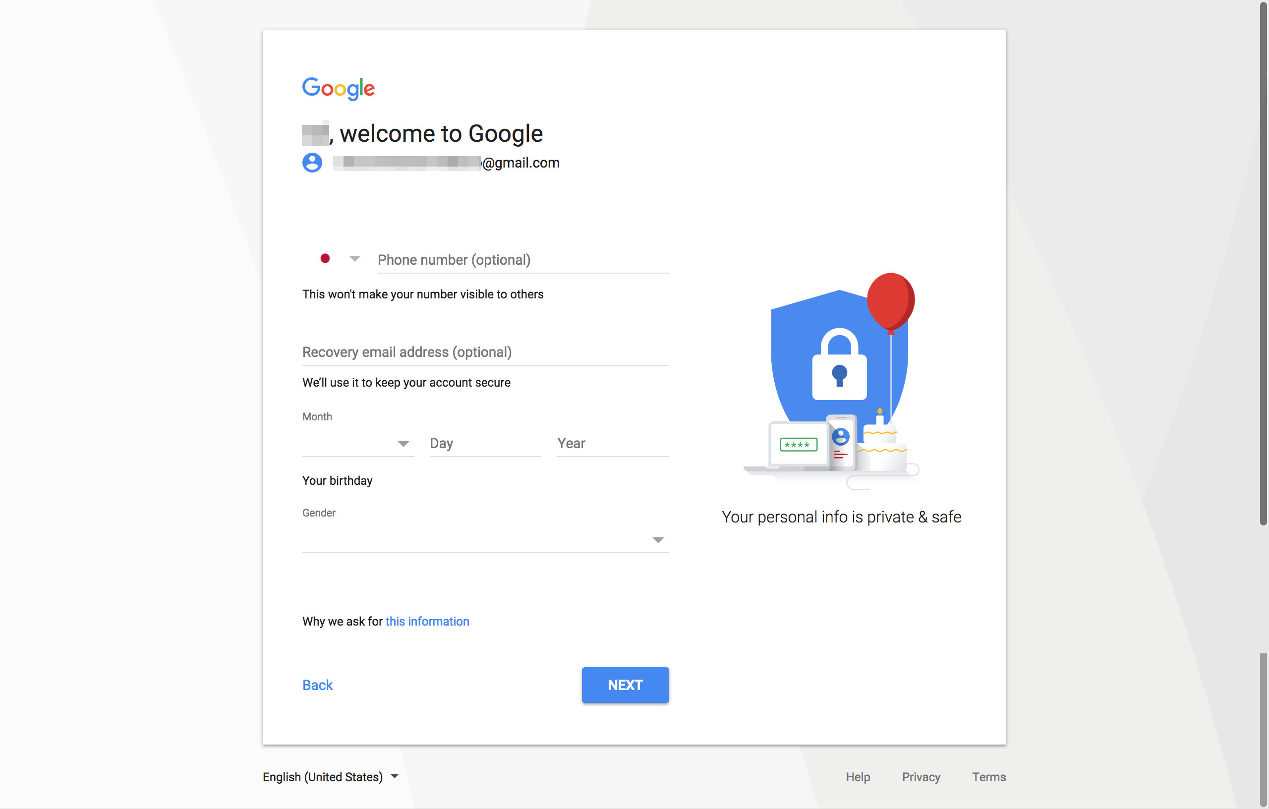 Google account registration page