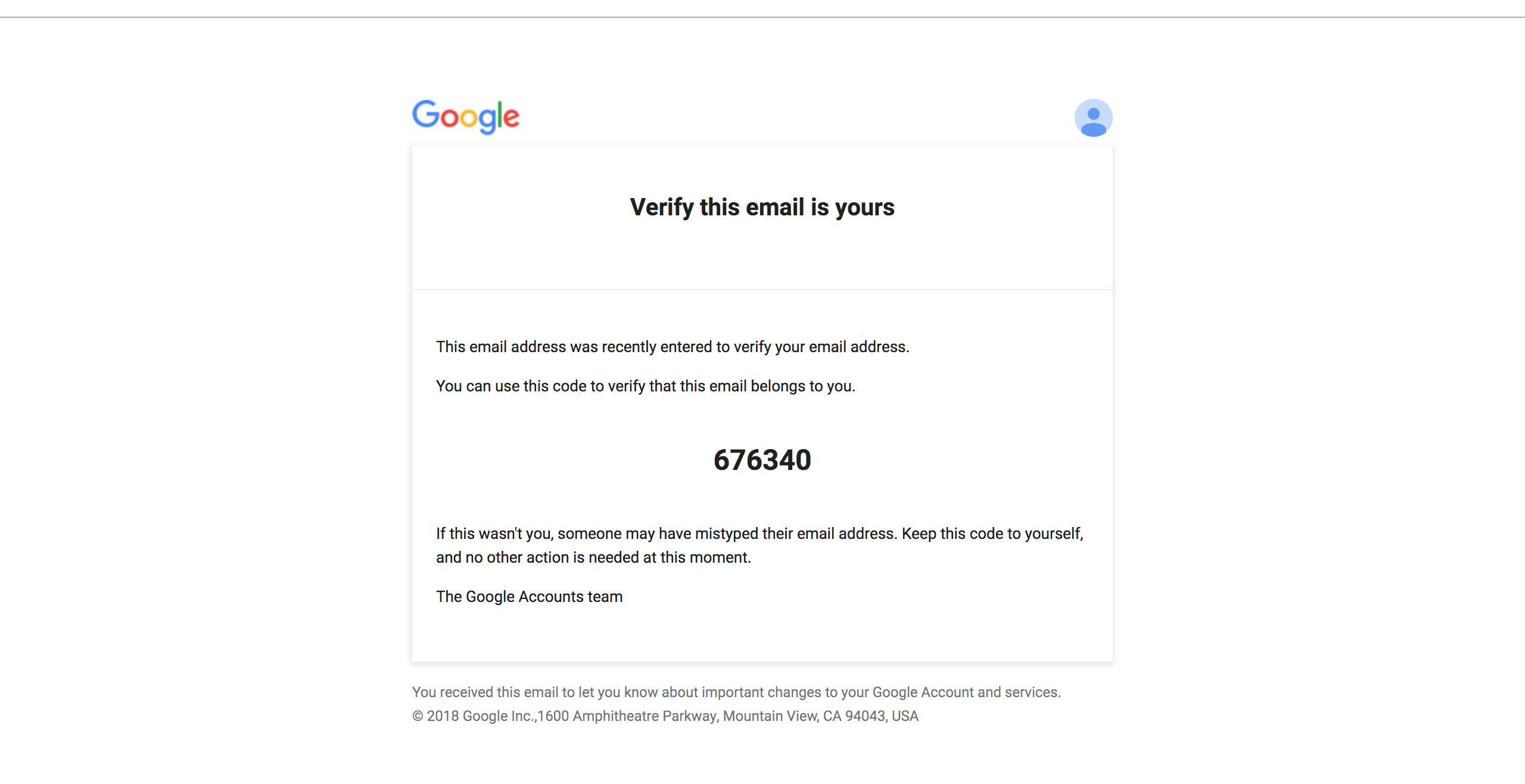 Example email with verification code