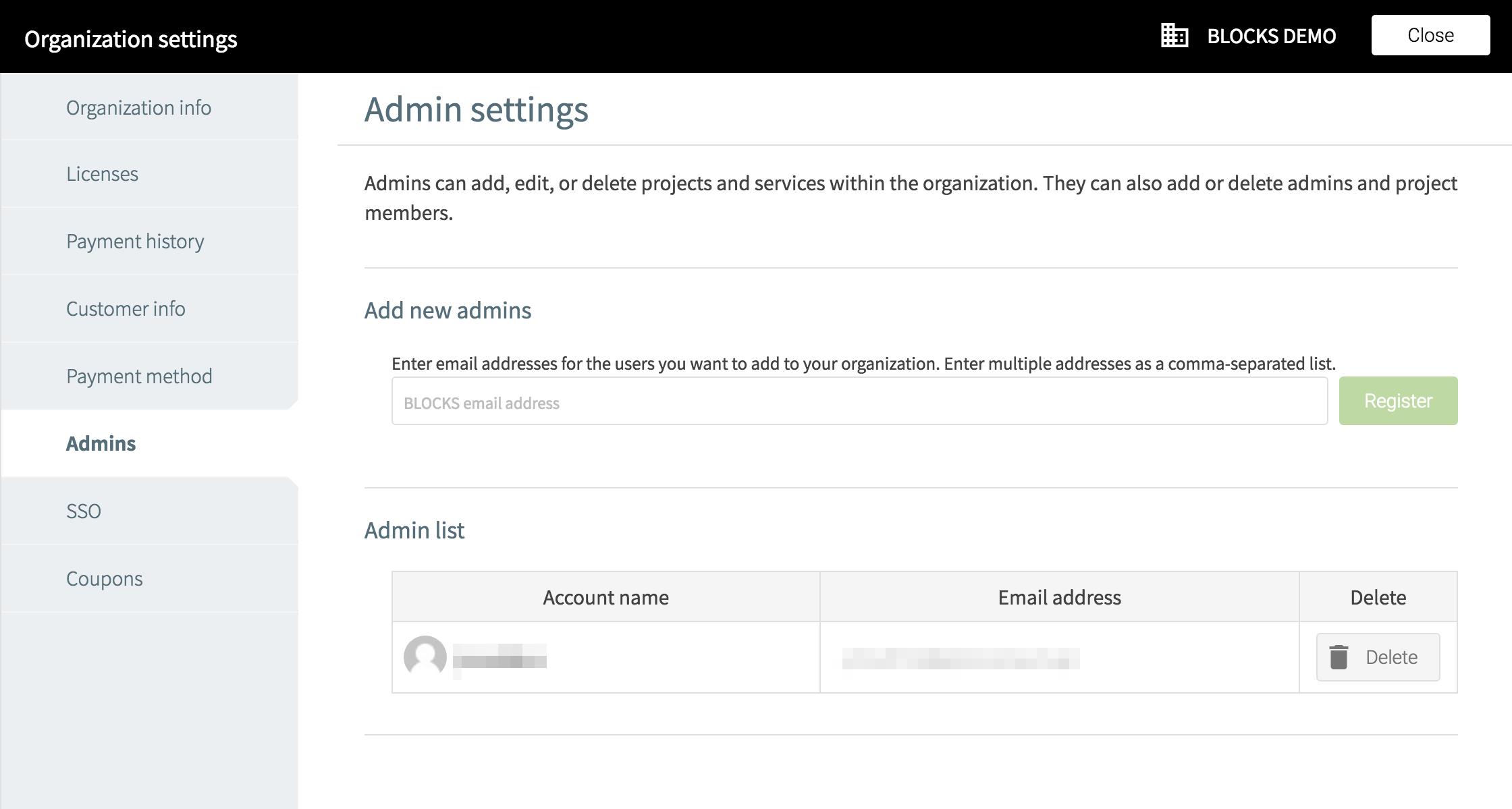 Organization settings admins screen