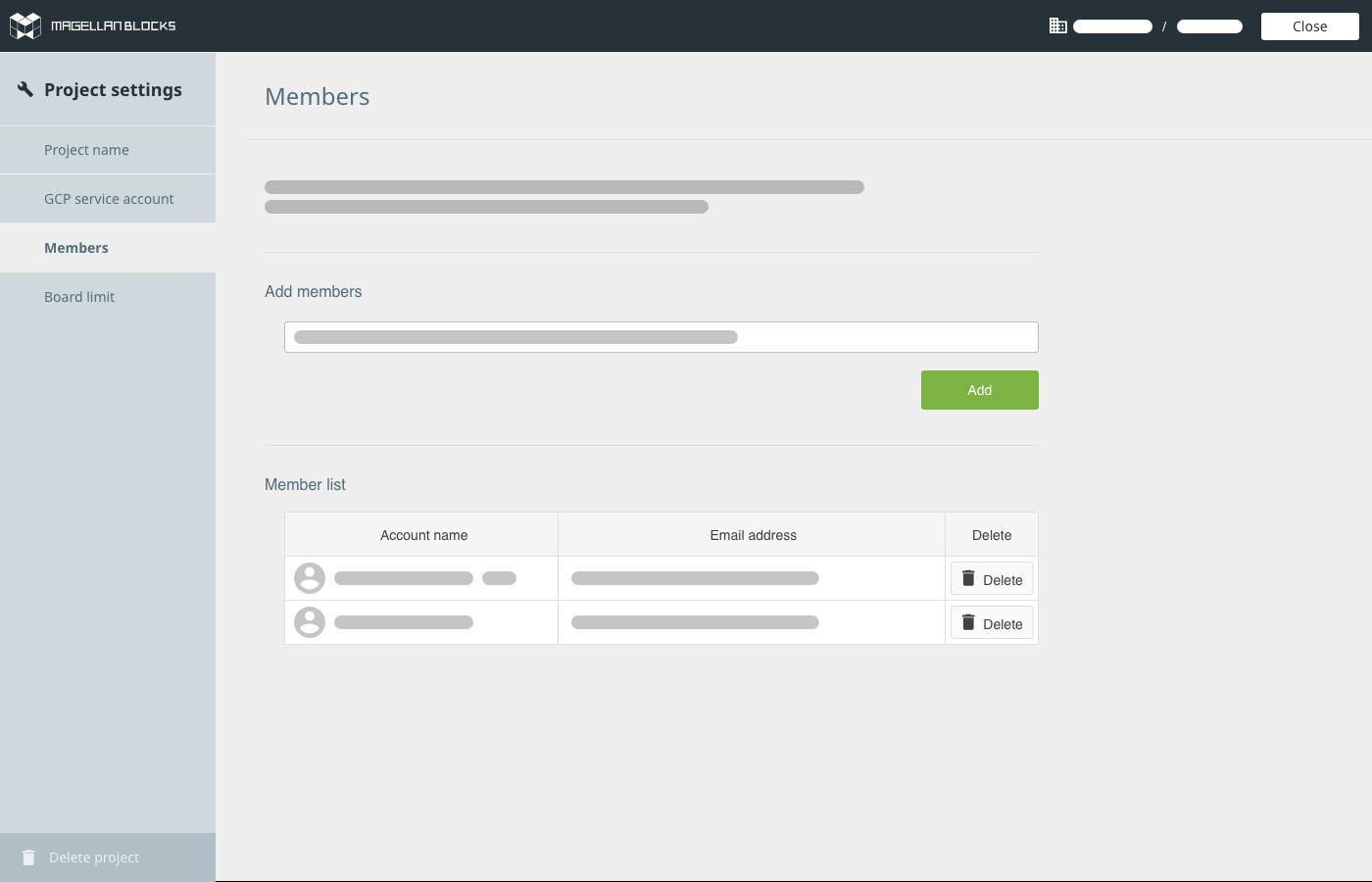 Project settings (Members)