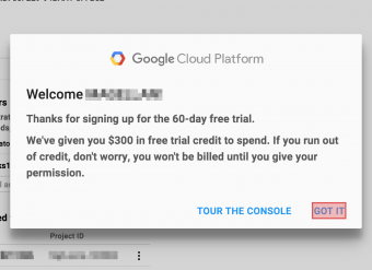 GCP free trial welcome