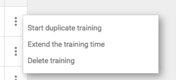 Opening the training options menu