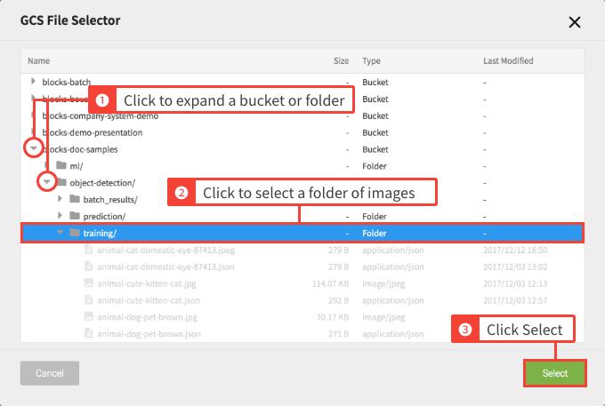 Selecting the GCS image folder