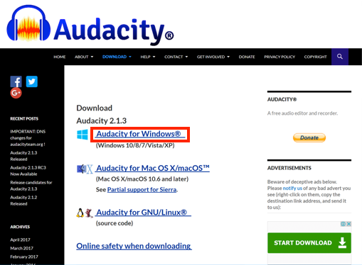 Audacity for Windows link