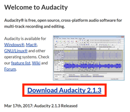 Audacity download page
