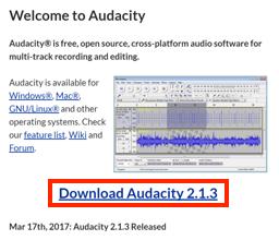 Audacity のダウンロードページへのリンク画像