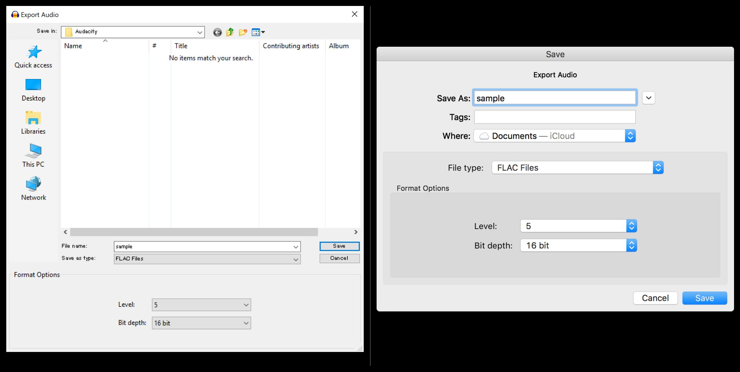 Audacity Export Audio window