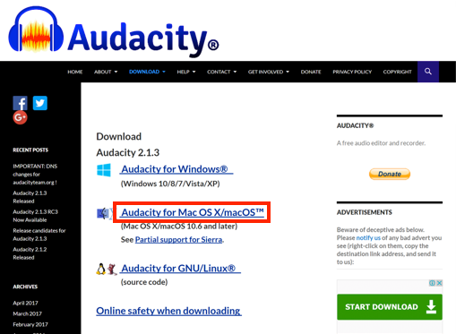 Audacity ダウンロードページ画像
