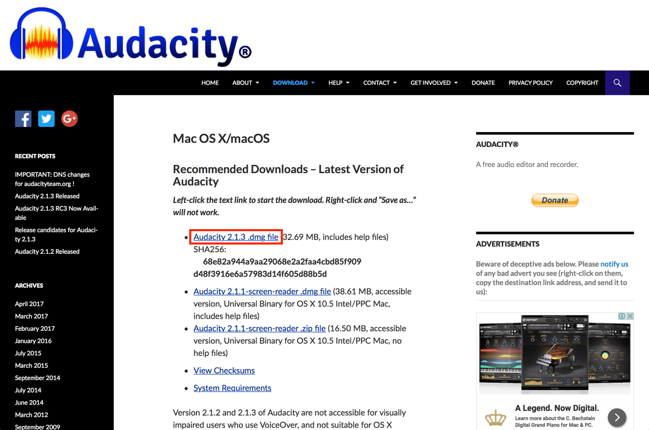 Audacity macOS/OS X version download page