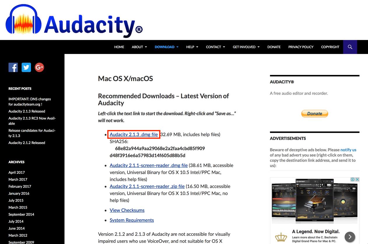 Audacity macOS/OS X 版ダウンロードページ画像
