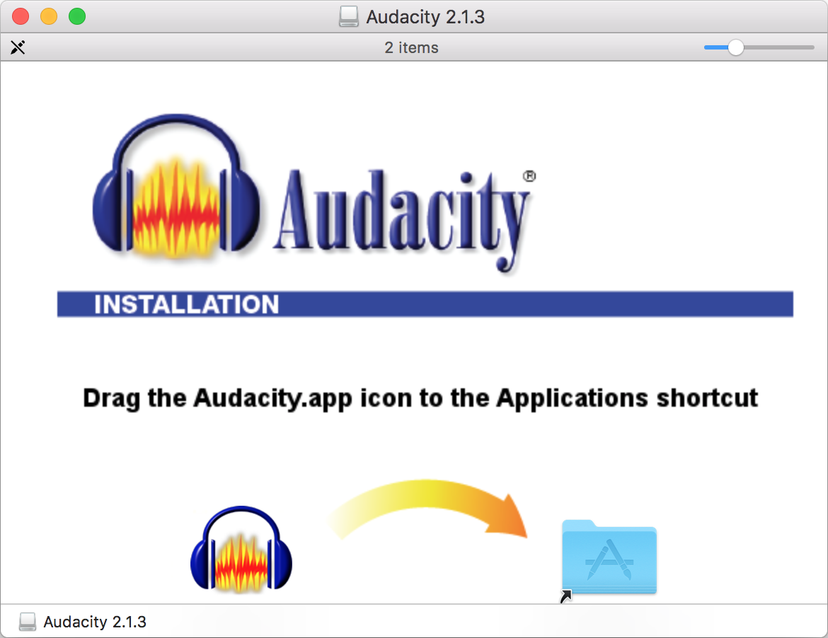 Install Audacity to the applications folder