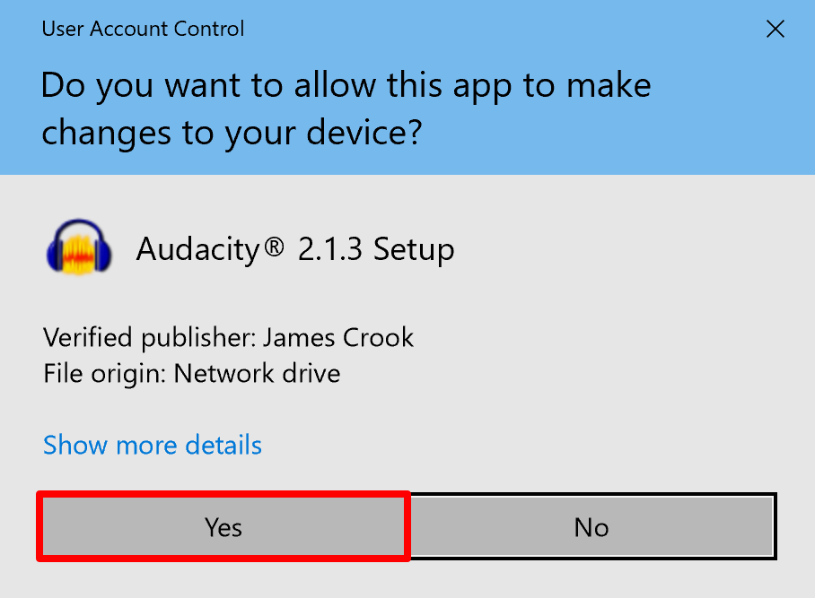 Audacity for Win installer permission