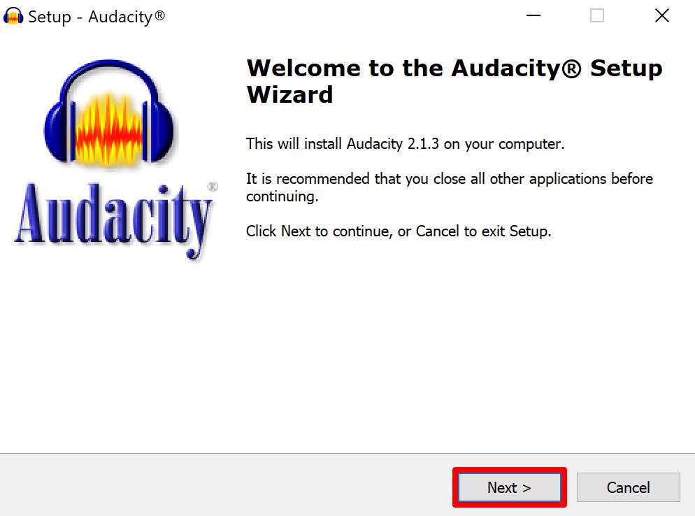 Audacity setup wizard welcome screen