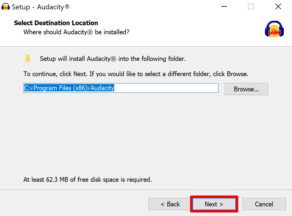 Audacity setup destination folder screen