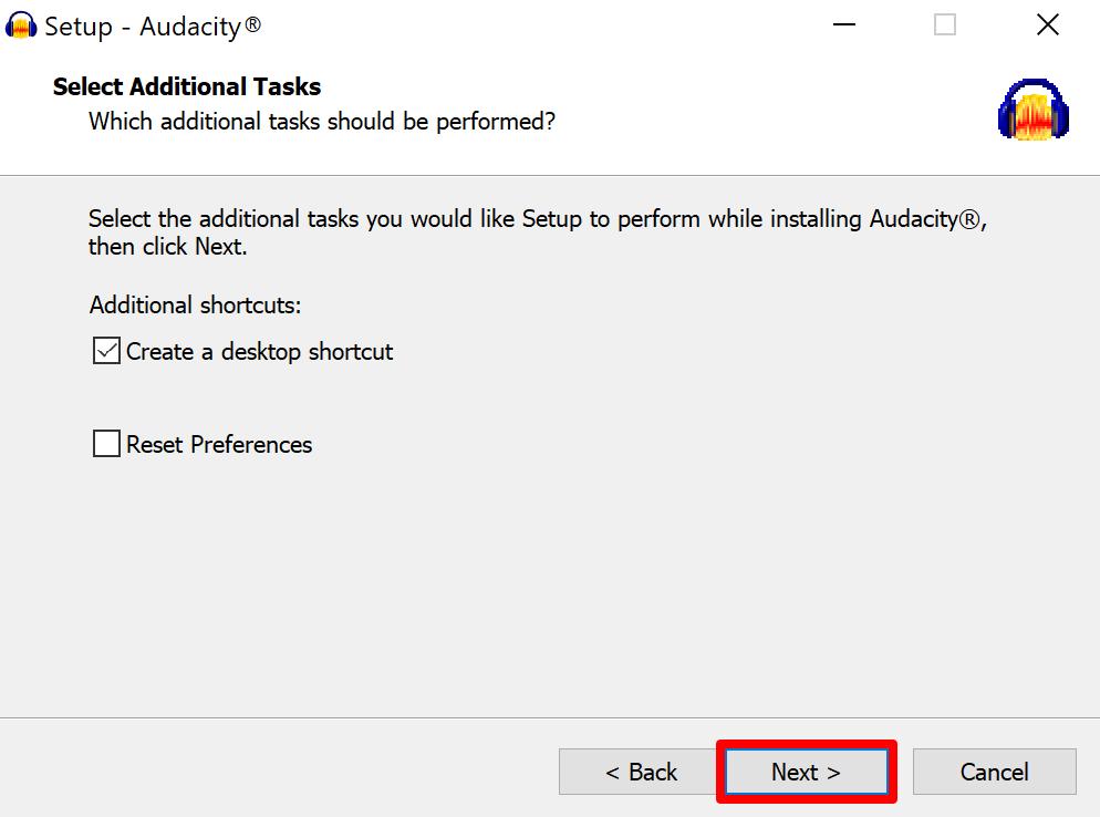 Audacity setup additional tasks screen