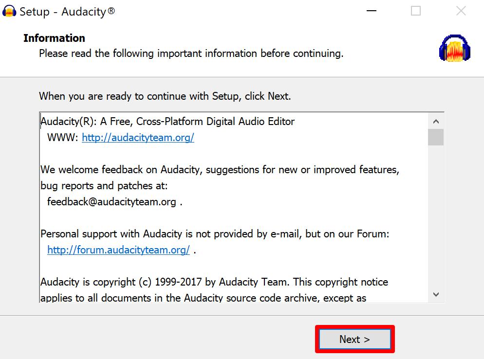 Audacity setup important information screen (post-installation)