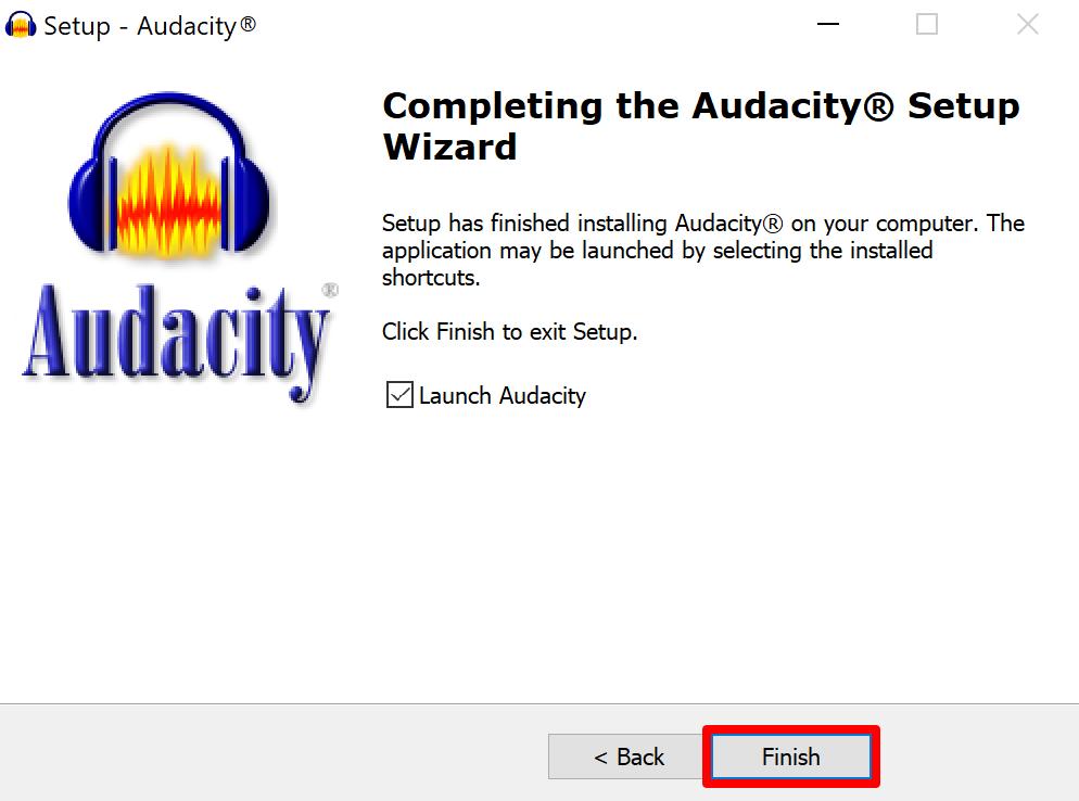 Audacity setup complete screen