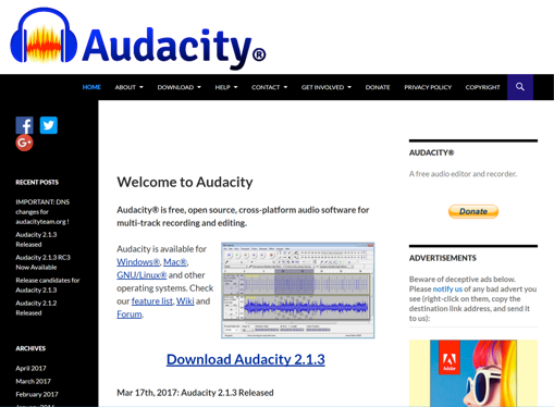Audacity ページ画像