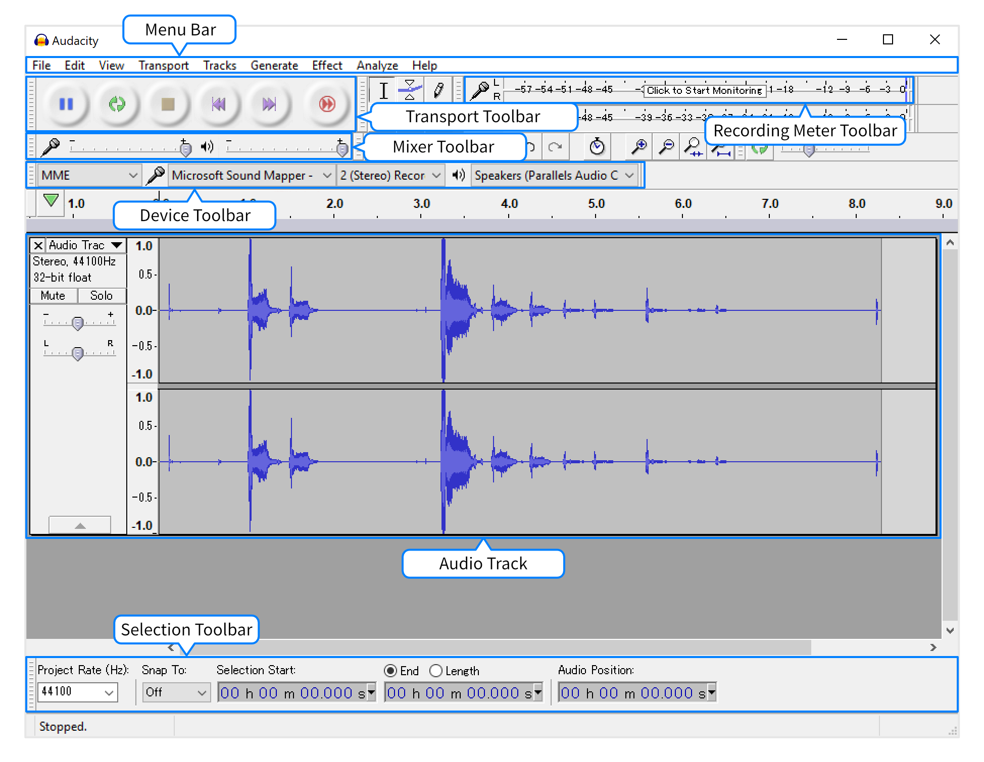 Audacity Project Window screen section names