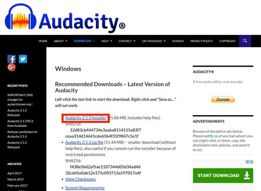 Audacity Windows 版ダウンロードページ画像