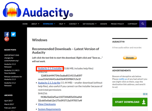 Audacity Windows version download page