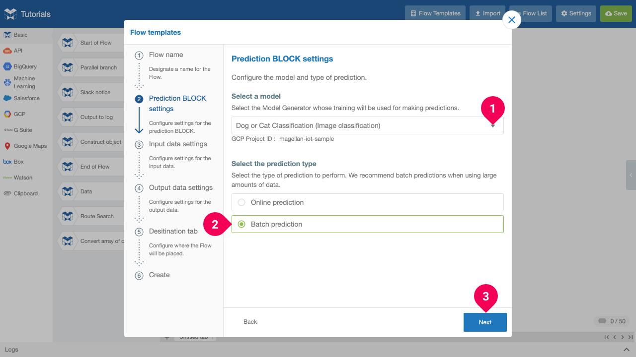 Configuring settings for the Model Generator prediction BLOCK