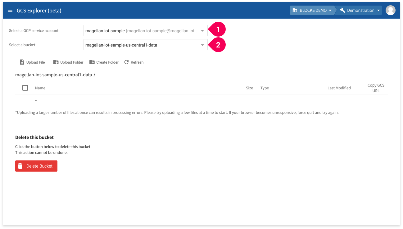 Selecting the GCS service account and bucket in the GCS Explorer