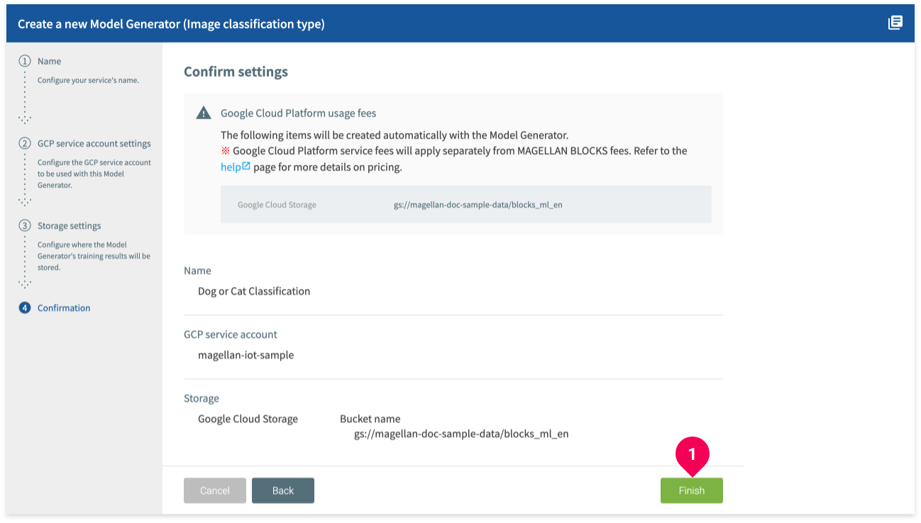 Confirming your Model Generator settings