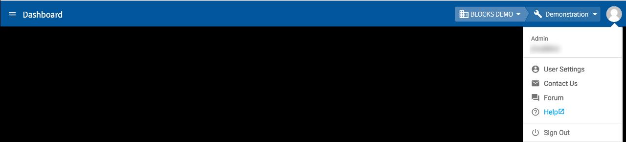 User menu with header