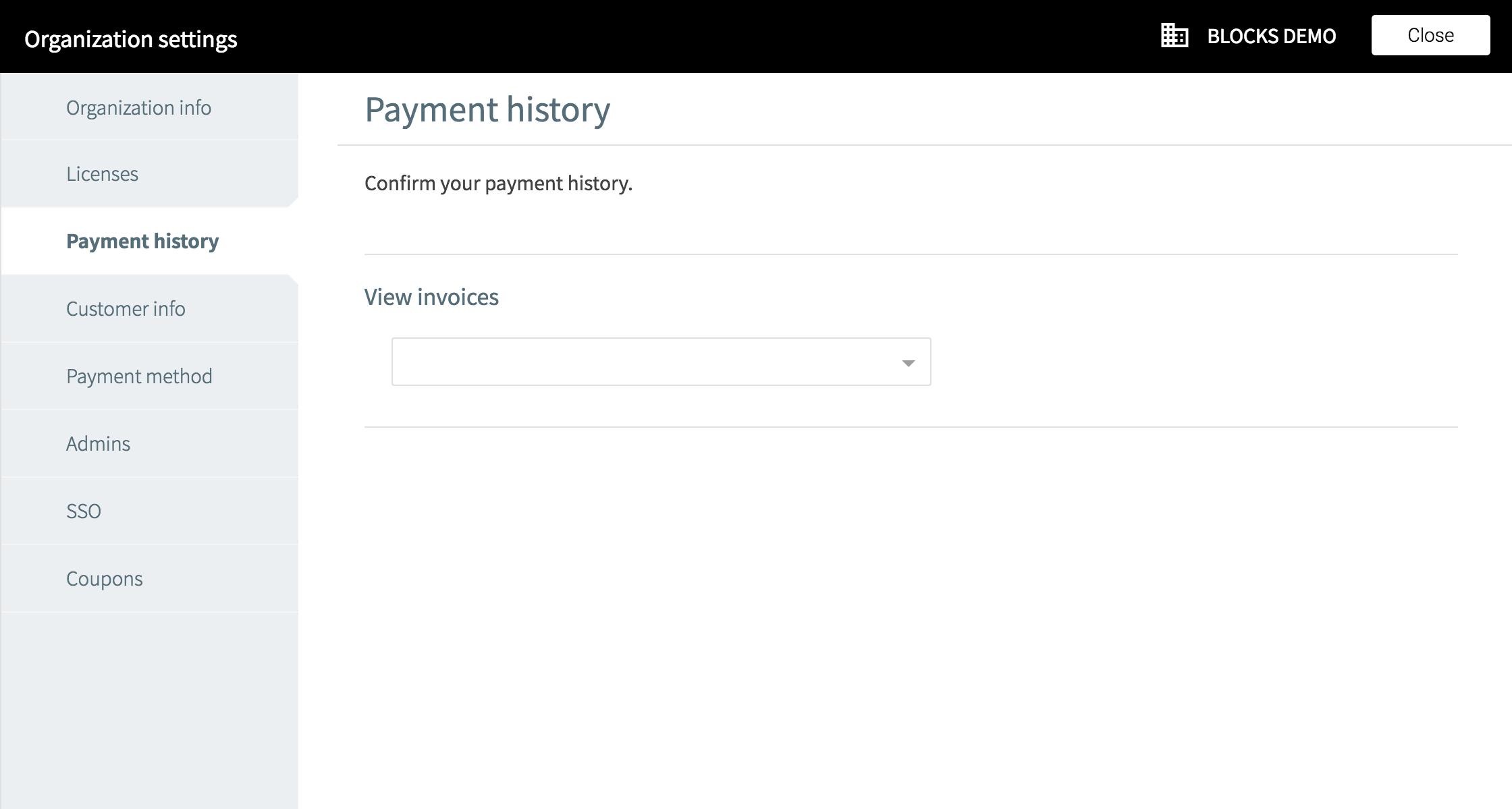 Organization setting payment history screen