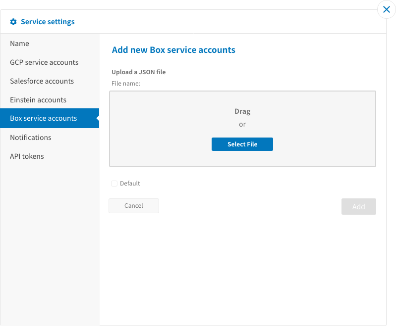 Adding new Box service accounts