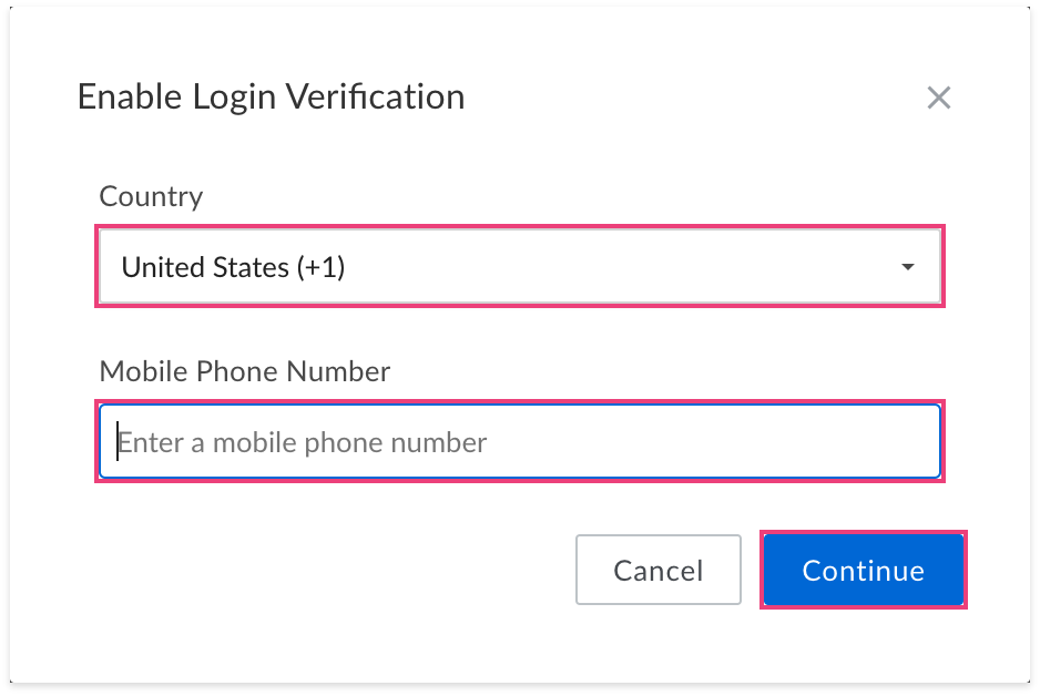 Box 2-step verification step 1
