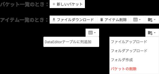 アクションボタンの例