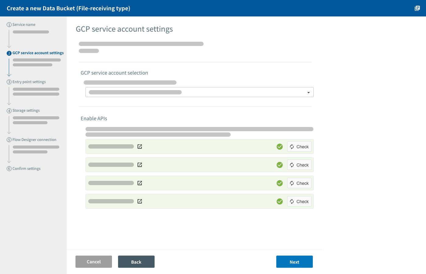 GCP service account setting