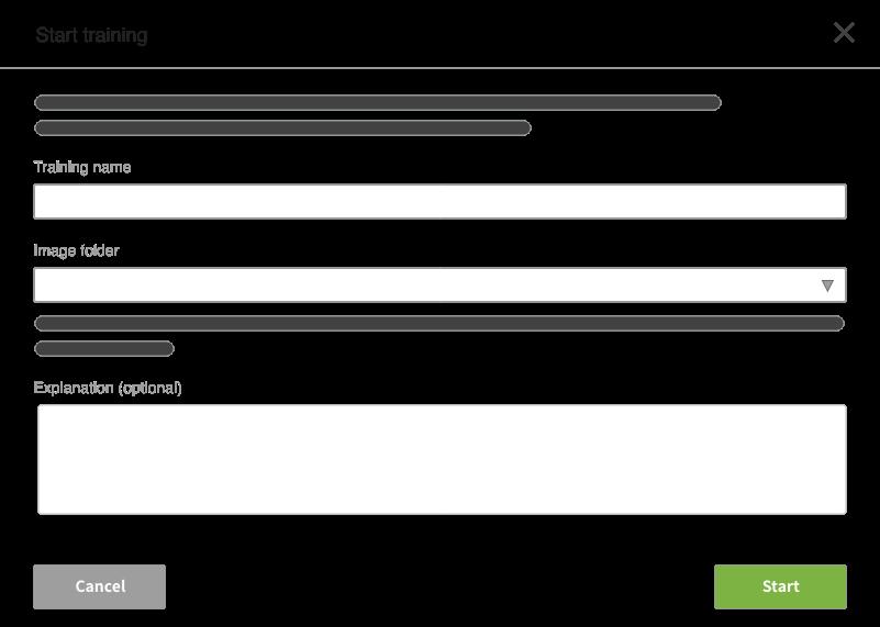 object detection: start training screen