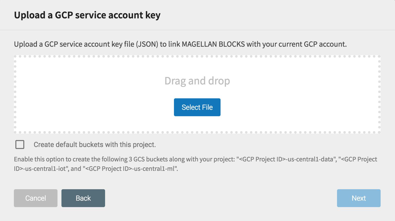GCP サービスアカウントキーのアップロード画面