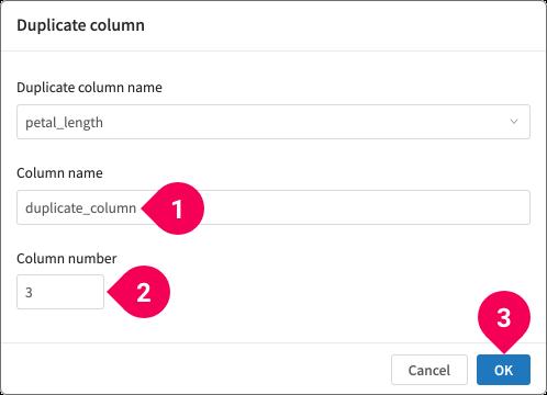 Duplicating a column
