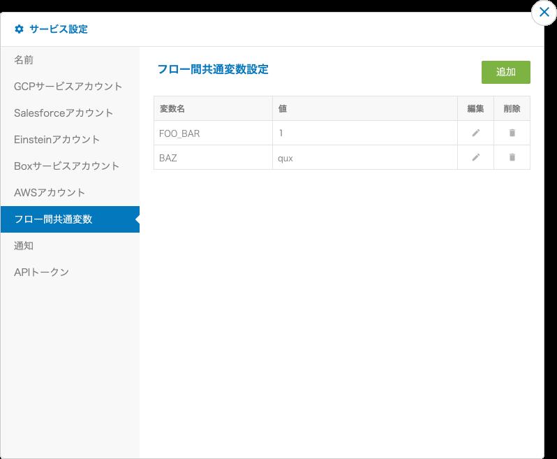 フロー間共通変数の設定画面
