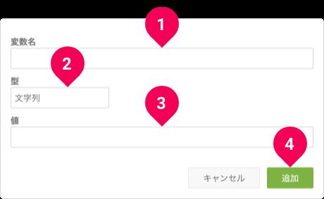 フロー間共通変数の追加画面
