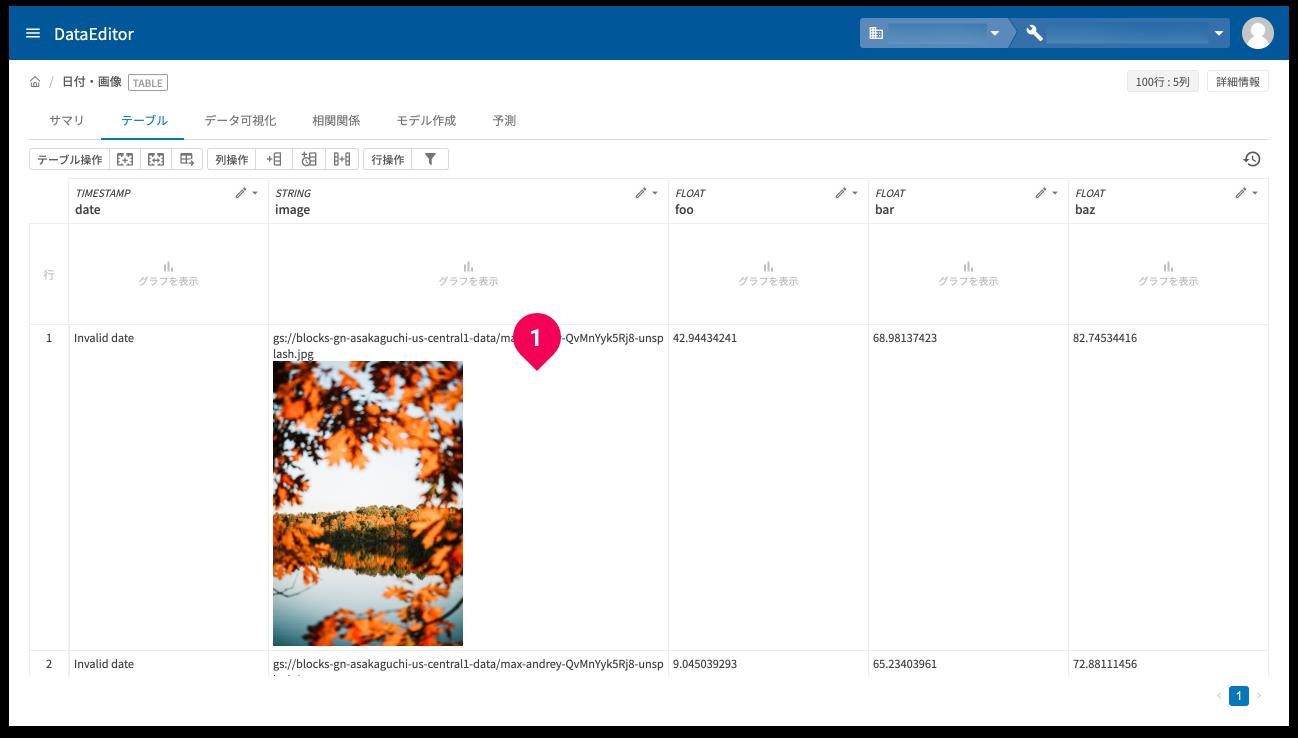 データ編集画面がでプレビュー画像が表示されている例