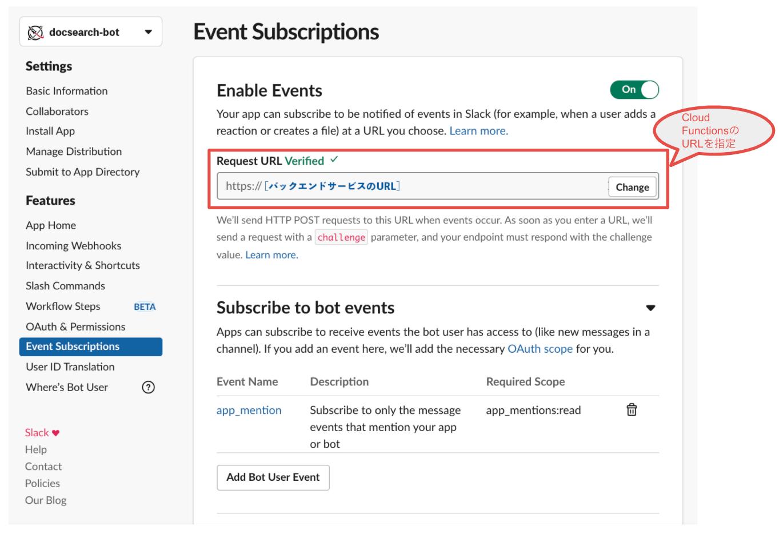 SlackのEvent Subscriptionの設定